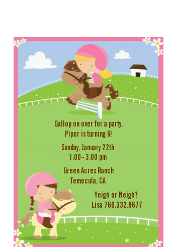 Horseback Riding - Birthday Party Petite Invitations
