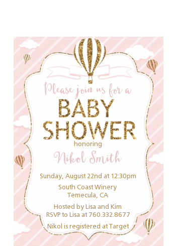 Hot Air Balloon Gold Glitter - Baby Shower Petite Invitations