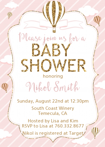 Hot Air Balloon Gold Glitter - Baby Shower Invitations