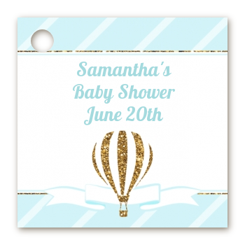 Hot Air Balloon Boy Gold Glitter - Personalized Baby Shower Card Stock Favor Tags
