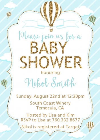 Hot Air Balloon Boy Gold Glitter - Baby Shower Invitations