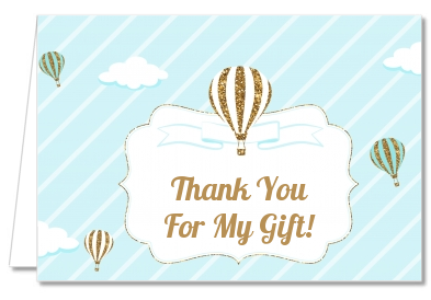 Hot Air Balloon Boy Gold Glitter - Baby Shower Thank You Cards