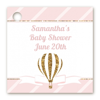 Hot Air Balloon Gold Glitter - Personalized Baby Shower Card Stock Favor Tags