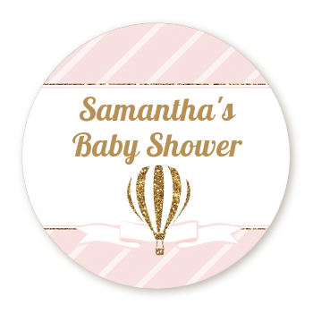 Hot Air Balloon Gold Glitter - Round Personalized Baby Shower Sticker Labels