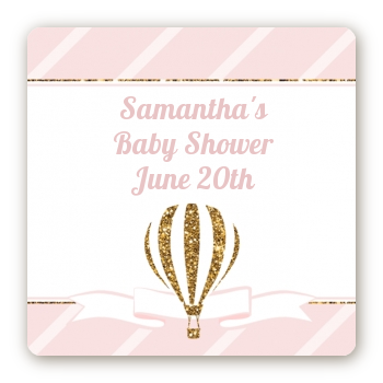 Hot Air Balloon Gold Glitter - Square Personalized Baby Shower Sticker Labels
