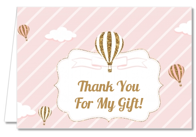 Hot Air Balloon Gold Glitter - Baby Shower Thank You Cards
