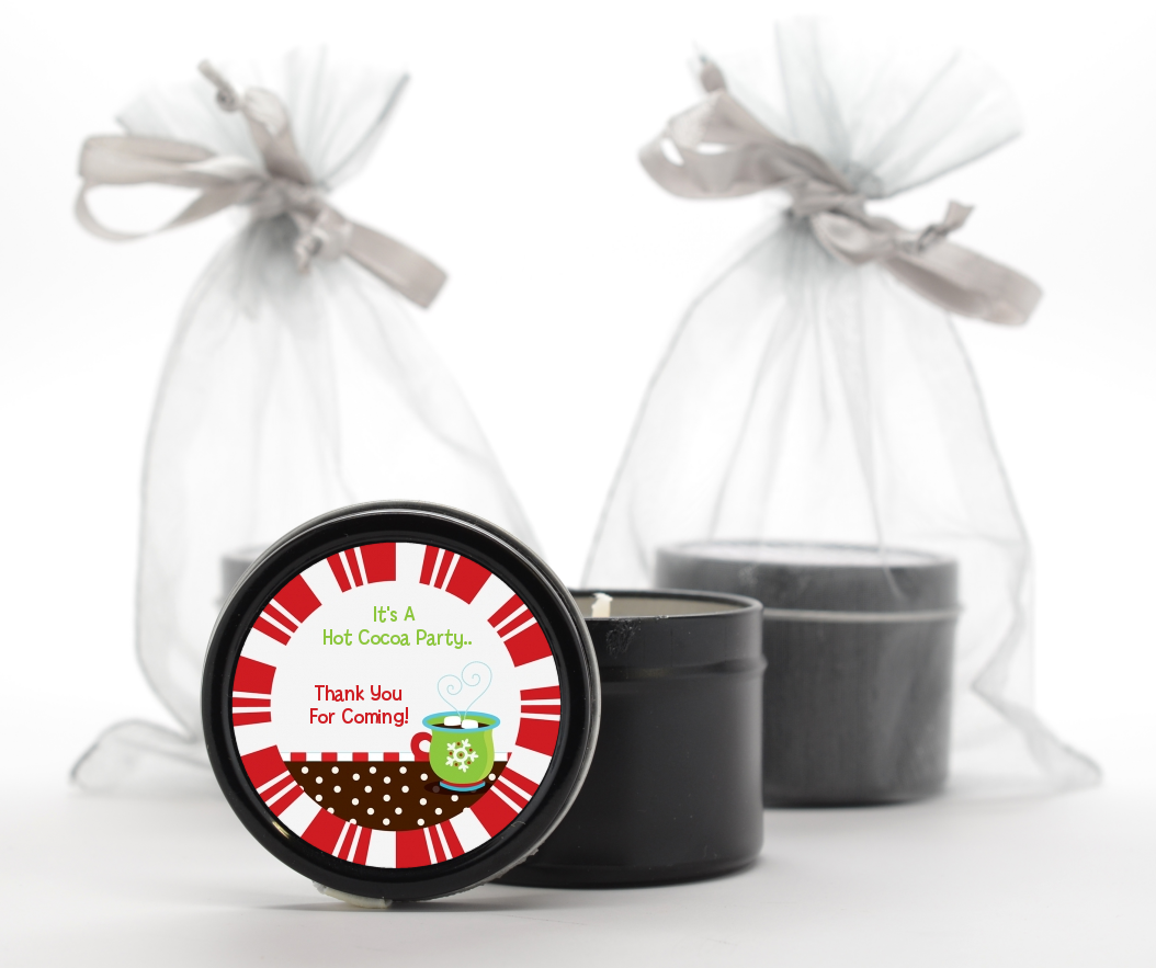 Custom Christmas Black Candle Tin Favors