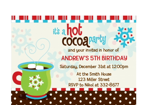 Hot Cocoa Party Christmas Petite Invitations