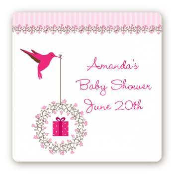 Hummingbird - Square Personalized Baby Shower Sticker Labels