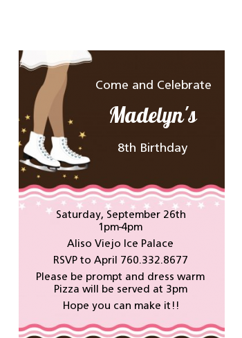 Ice Skating African American - Birthday Party Petite Invitations