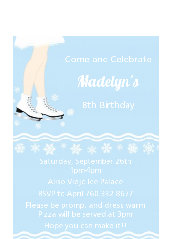 Ice Skating with Snowflakes - Birthday Party Petite Invitations