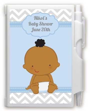It's A Boy Chevron African American - Baby Shower Personalized Notebook Favor