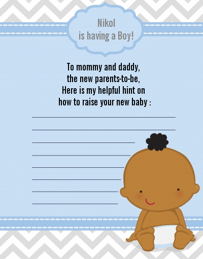 It's A Boy Chevron African American - Baby Shower Notes of Advice
