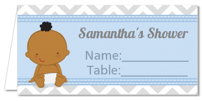 It's A Boy Chevron African American - Personalized Baby Shower Place Cards