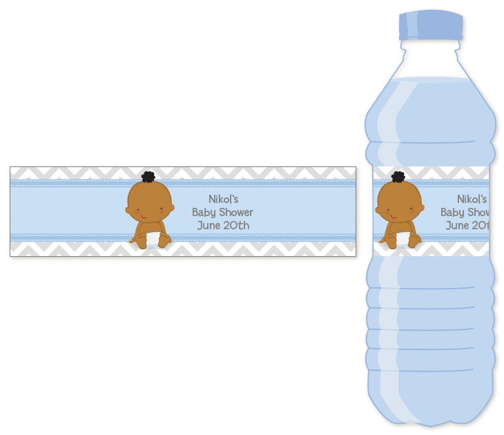 It S A Boy Chevron African American Personalized Baby Shower Water Bottle Labels