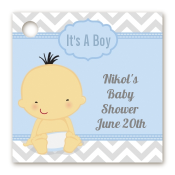 It's A Boy Chevron Asian - Personalized Baby Shower Card Stock Favor Tags