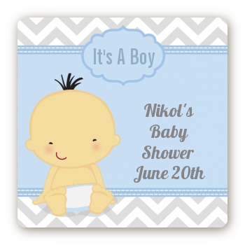 It's A Boy Chevron Asian - Square Personalized Baby Shower Sticker Labels