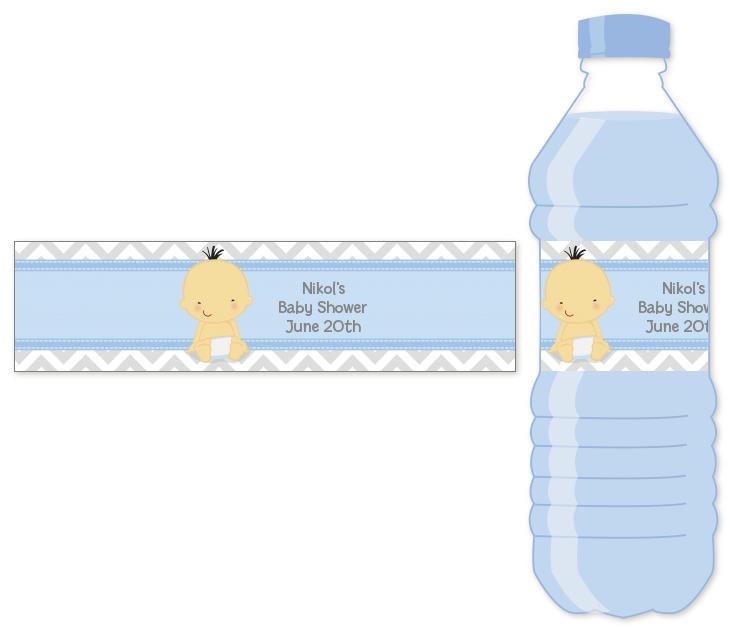 It S A Boy Chevron Asian Personalized Baby Shower Water Bottle Labels