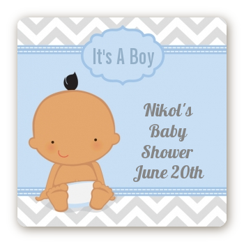 It's A Boy Chevron Hispanic - Square Personalized Baby Shower Sticker Labels
