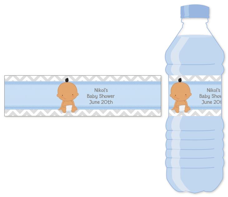 Its A Boy Chevron Hispanic Water Bottle Label Baby Shower Water
