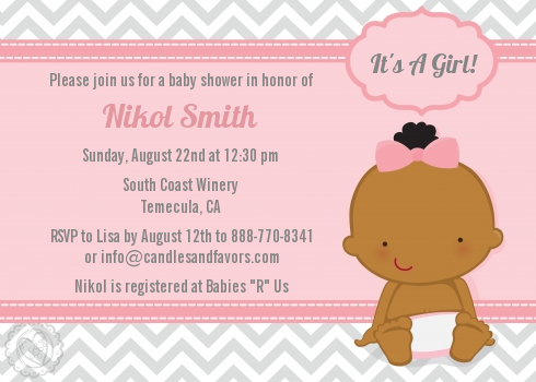 it s a girl chevron african american baby shower invitations
