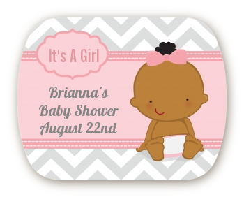 It's A Girl Chevron African American - Personalized Baby Shower Rounded Corner Stickers