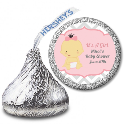It's A Girl Chevron Asian - Hershey Kiss Baby Shower Sticker Labels