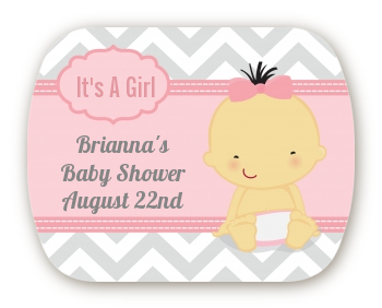 It's A Girl Chevron Asian - Personalized Baby Shower Rounded Corner Stickers