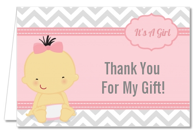 It's A Girl Chevron Asian - Baby Shower Thank You Cards