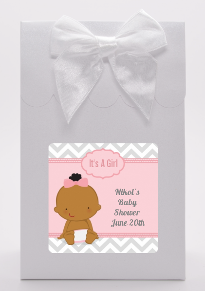 It's A Girl Chevron African American - Baby Shower Goodie Bags