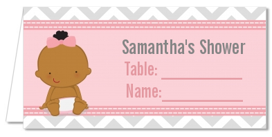 It's A Girl Chevron African American - Personalized Baby Shower Place Cards