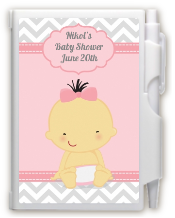 It's A Girl Chevron Asian - Baby Shower Personalized Notebook Favor