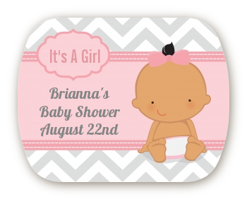 It's A Girl Chevron Hispanic - Personalized Baby Shower Rounded Corner Stickers
