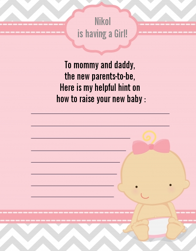 It's A Girl Chevron - Baby Shower Notes of Advice