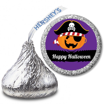 Jack O Lantern Pirate - Hershey Kiss Halloween Sticker Labels