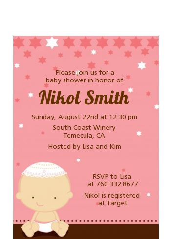 Jewish Baby Girl - Baby Shower Petite Invitations