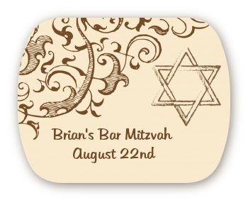 Jewish Star of David Brown & Beige - Personalized Bar / Bat Mitzvah Rounded Corner Stickers