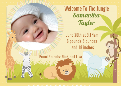 Jungle Safari Party Photo Birth Announcement Cards – Birth Announcement Cards