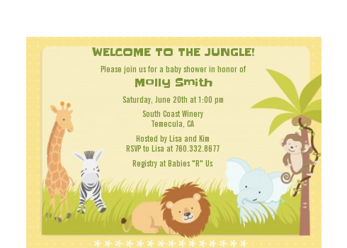 Jungle Safari Party - Baby Shower Petite Invitations Dark Brown