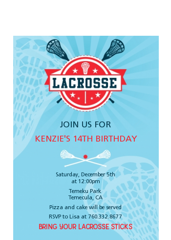 Lacrosse - Birthday Party Petite Invitations