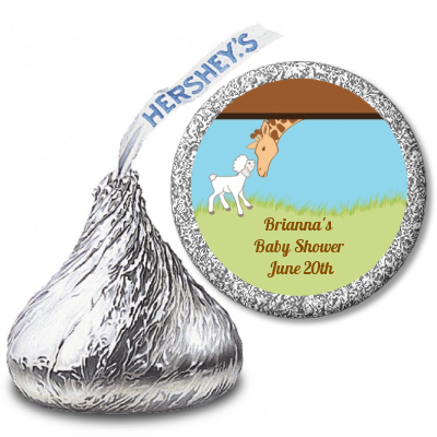 Lamb & Giraffe - Hershey Kiss Baby Shower Sticker Labels