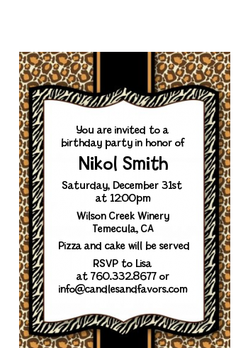 Leopard & Zebra Print - Birthday Party Petite Invitations