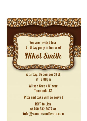 Leopard Brown - Birthday Party Petite Invitations