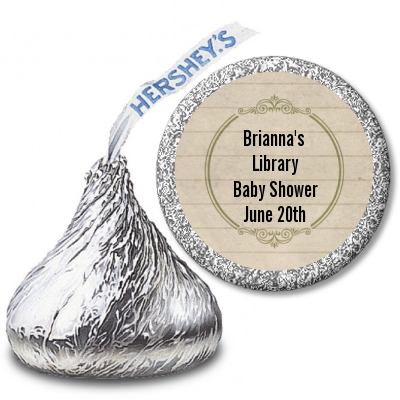 Library Card - Hershey Kiss Baby Shower Sticker Labels