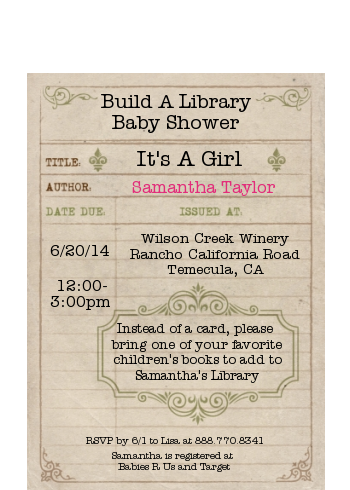 Library Card - Baby Shower Petite Invitations