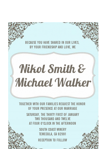 Light Blue & Grey - Bridal Shower Petite Invitations