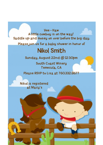 Little Cowboy - Baby Shower Petite Invitations Caucasian