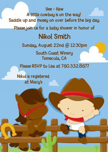 Little Cowboy Baby Shower Invitations Candles and Favors