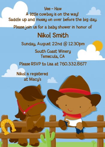 Little Cowboy - Baby Shower Invitations Caucasian