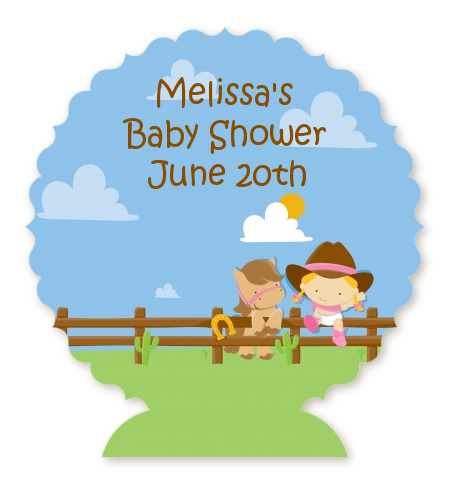 Little Cowgirl Personalized Baby Shower Centerpiece Stand